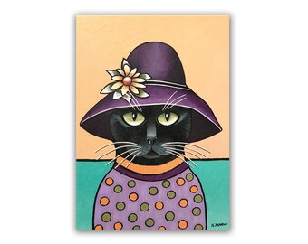 ACEO Art PRINT Black Cat with a Hat Whimsical Pet Portrait