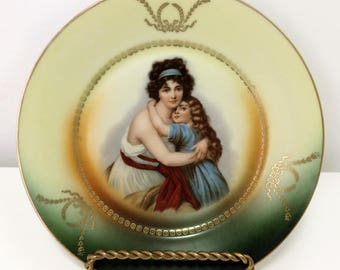 Vintage  C.A. Lehmann & Sohn, Kahla (Thuringia), Germany,  portrait of a 'mother and daughter' wall plate,