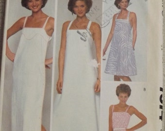 Bill Tice Design Sundresses Incl. Ankle Length or Dress with Yokes in Size 8 Complete Vintage 80s McCall's Sewing Pattern 7574