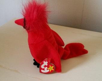 Cardinal Bird Beanie baby, Vintage Red Bird, Stuffed Bird, Collectible Bird Beanie,Plush Toy, Plush Bird Beanie, Soft Bird, Birthday Gift.