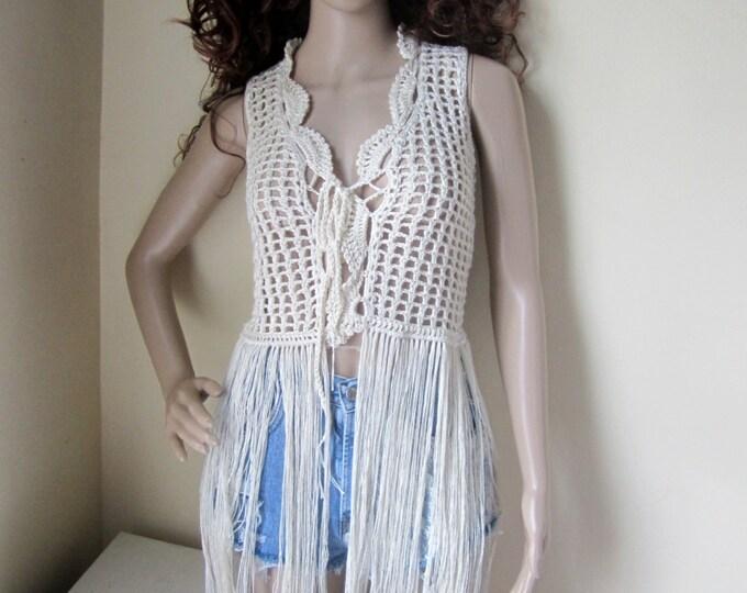 Crochet vest, FESTIVAL VEST, Fringe vest, Elongated Fringes, festival, gypsy, Boho, carnival