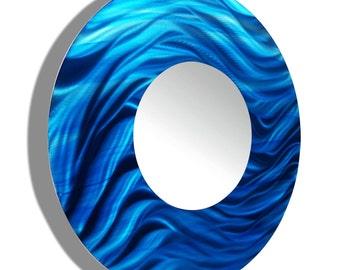 Aqua Blue Hanging Metal Wall Mirror, Round Contemporary Wall Mirror Accent, Modern Metal Wall Art, Home Decor - Mirror 117 by Jon Allen