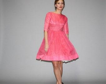 On SALE 60% Off - Vintage 1950s Pink  Cupcake Prom  Dress  - Vintage Prom Dress - Vintage 50s Pink Dresses  - WD0657