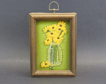 Vintage Framed Embroidery of Potted Flowers (E9875)