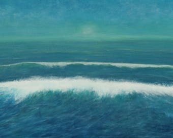 Majestic Morning-seascape-water-ocean-waves-clouds-sky-original painting-metallic accents-24x36-canvas-art-blues-sun-sky-nature
