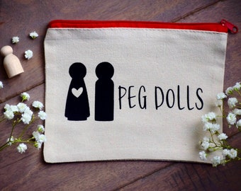 NEW Peg Doll Pouch Carrying Bag Gift Bag Organization Pouch, Peg Doll Cotton Bag, Ready to Gift, 5 x 7 Pouch, Plain Peg Dolls, Ready to Ship