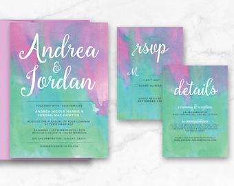 Pink Purple Green Watercolor Printable Wedding Invitation Suite - Lotus Flower Wedding - Printable 5x7 Invitation - Digital Printable