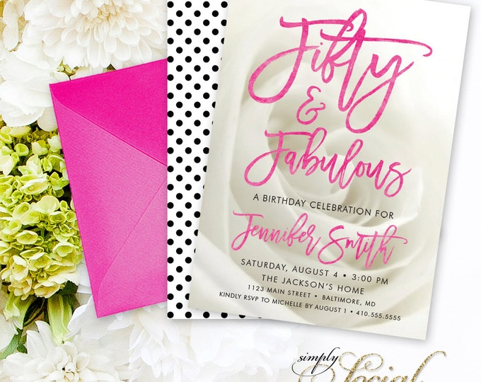 Script Calligraphy Font Birthday Invitation Invitation - Fifty and Fabulous 50th 40th 60th 30th 70th Modern Fun Polka Dot Hot Pink PRINTABLE