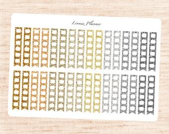 NEUTRAL Glitter Checklists (Matte planner stickers, fits perfect in Erin Condren Life Planner)