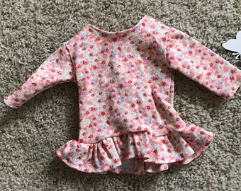 "18"" Doll Flowered Long Sleeved Tunic Shirt"