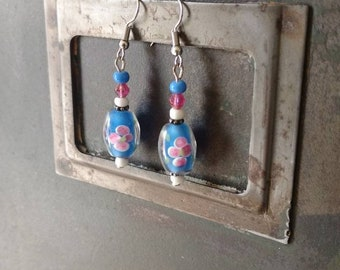 Dangling earrings millefiori romantic shabby - recycling blue and pink flowers glass beads