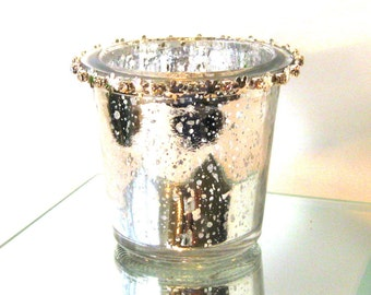 Swarovski and Mercury Glass Votives Candle Holders bling Silver crystal bling silver plated Wedding reception Silver wedding decor