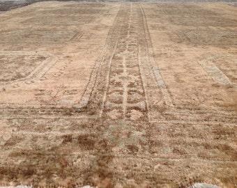 """12'4"""" X 8'9"""" Pastel Oversize Antique Pile rug, Distressed Antique Rug, rug, neutral color rug, Faded rug, Vintage rug, distressed rug,rug030"""