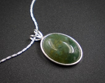 Moss agate pendant necklace - moss agate sterling silver handmade semiprecious stone pendant necklace green silver gemstone pendant necklace