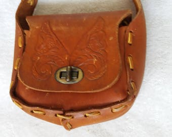 Vintage TINY Tooled Leather Purse Pocketbook handbag clutch carrying case
