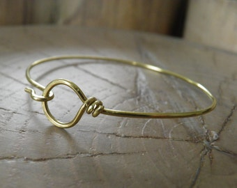 "Bracelet...NEW ""Hooked"" hand wrapped brass bracelet."