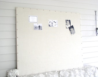 Huge X-Large White Ivory Burlap Memo Board 34 x 42 in MAGNETIC Bulletin Board Hardwood Construction, Silver Upholstery Tacks Button Magnets