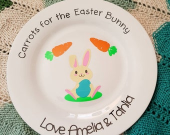 Carrots for the easter bunny plate, easter plate, bunny plate, holiday plate