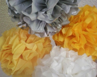 yellow gray white pom poms set of 5 nine inch diameter tissue paper