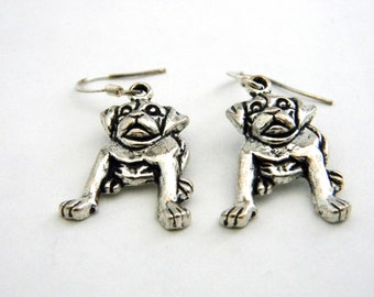 Puppy Dog Earrings Silver Color Dangle Earrings