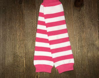 Baby leg Warmer // Pink and White Striped // Toddler Leg Warmer // Infant Leg Warmer // Arm Warmer // Baby Accessories // Baby Socks