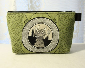 Large Ghastlies Cosmetic Bag Zipper Pouch Padded Ghastly Fabic Makeup Bag Zip Pouch Mold Green Black Cat Sebastian Ghastlie Gallery GGG MTO