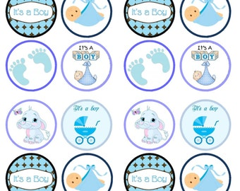 It's A Boy, Baby Shower Birth Edible Wafer Rice Paper Cake Cupcake Toppers x 24 PRECUT