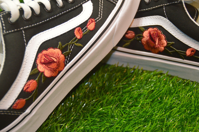 Fer Floral Vans Personnalisé Brodé Old Rose S Noirblanc Skool YBAO0na