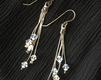 Swarovski Crystal Dangle Earrings   Sterling Silver Drop Earrings   Crystal Jewelry   Gift for Her   Bridesmaids Gift   Wedding Jewelry