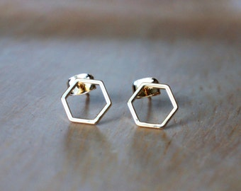 Gold Honeycomb Hexagon Earrings - Stud Earrings