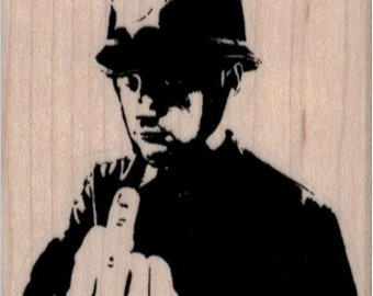 Banksy      Banksy Cop Giving Finger rubber stamps  cling stamp unmounted or wood mounted 19488 craft scrapbook supplies