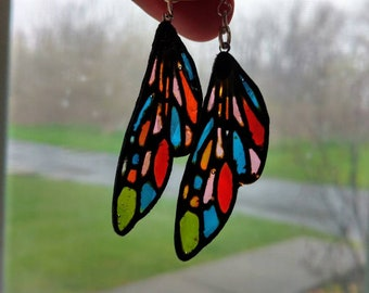 Stained Glass Dragonfly Wing Earrings