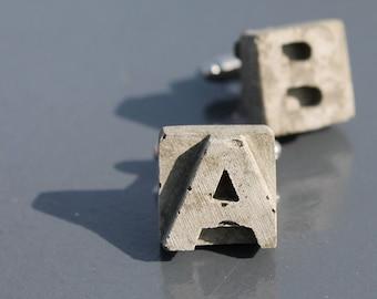 "concrete cufflinks with initials | ""anchorete"""