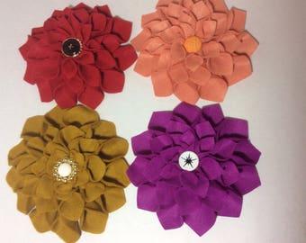 4 Felt Dahlia Flowers for Brooch, Hair accessory, Applique, Embroidery, Art, Etc