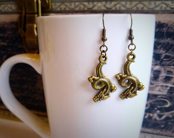 Bronze dragon dangle earrings, fish hooks, gift for her, stocking stuffer, by Felicianation