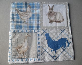 x 1 patterned paper towel animals Barnyard 33 x 33 cm