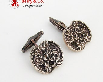 Vintage Ornate Scroll Motif Cufflinks Sterling Silver 1940
