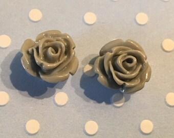 Grey stud earrings