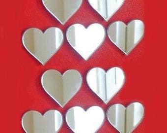 Packs of 10Heart Shaped Mirrors, Silver, Gold, Pink and Blue Mirrored - Several Sizes