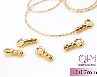 10pcs Crimp End Cap, 24K Gold Plated End Cap ID 0.7mm, JBB Findings, Gold End Caps, Gold Plated Cord Ends, End Cap with Loop ID 0.7mm,