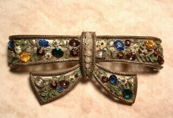 Unsigned Enamel and Rhinestone Bow Brooch, pearl accents