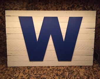 "Chicago Cubs W Rustic Wooden Sign 24"" X 15"""