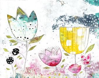 Whimsical Botanical Printable Artwork - Floral Wall Poster , Instant Download DIY Modern Art , Living Room Wall Art