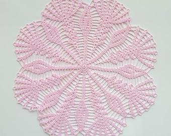 Pink handmade crochet doily No.47