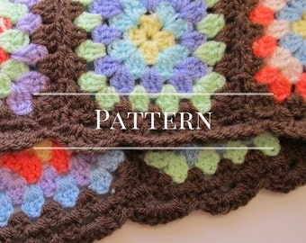 Crochet scarf pattern, Granny Square scarf pattern
