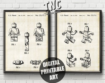 Lego Patent Print | Lego Wall Decor | Patent Print Set | Lego Patent | Lego Man Print | Lego Patent Art | Lego Art Print | Lego Wall Art