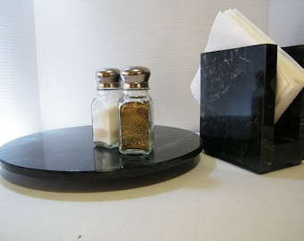 Complete Marble Kitchen Set  Lazy Susan and Napkin Holder, Marble Turntable, Table Centerpiece