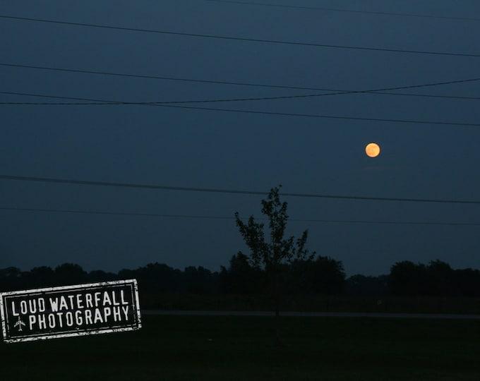 Full Harvest Moon Rising, Rural Oklahoma Landscape, Telephone Wires 5x8 Fine Art Photograph