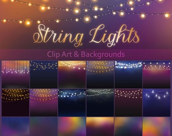 Patio Lights Clipart, Wedding Lights, Party Lights, string lights clip art, wedding overlays, rustic string lights, rustic clip art