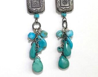 Turquoise Earrings Boho Chic Turquoise Gemstone Dangle Earrings Tassel Earrings Sterling Silver Long Gemstone Earrings Doolittlejewelry